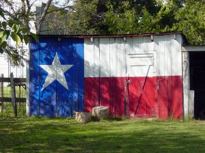 Texas flag on barn
